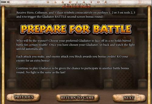Правила призової гри в апараті Gladiator