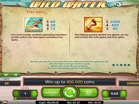 Особливі символи в апараті Wild Water