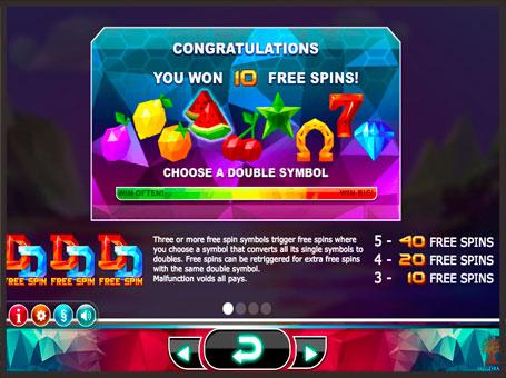 Випадання фріспінів в ігровому автоматі Doubles