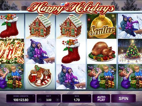 Виграшна комбінація символів в автоматі Happy Holidays