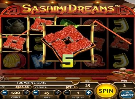Виграш за комбінацію символів в автоматі Sashimi Dreams