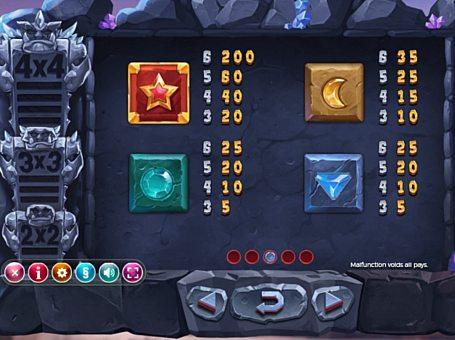 Таблиця виплат в грі Gem Rocks