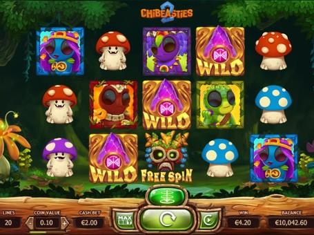 Дикі символи и фріспіни ігрового автомата Chibeasties 2
