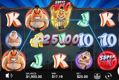 Комбінація з диким символом в ігровому апараті Super Sumo