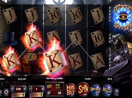 Комбінація символів на лінії в ігровому автоматі Magic Shoppe