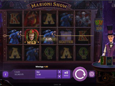Призовая комбинация с диким знаком в игровом автомате Marioni Show