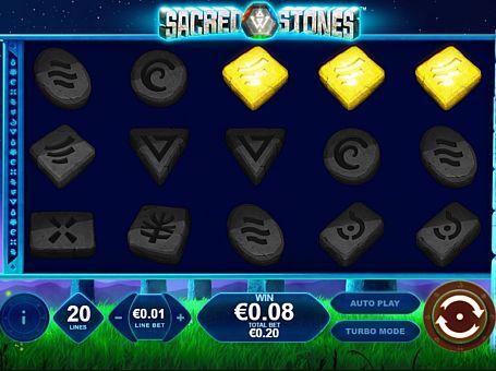 Призовая комбинация символов в игровом автомате Sacred Stones