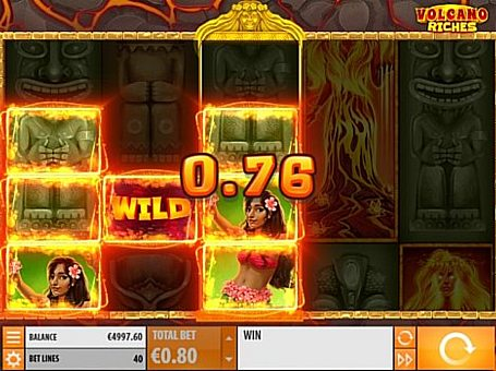 Призова комбінація на лінії в ігровому автоматі Volcano Riches