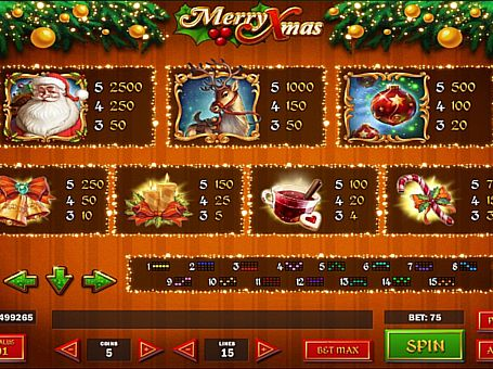 Виплати за символи в онлайн апараті Merry Xmas