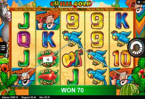 Виграш з диким знаком в онлайн слоті Chilli Gold