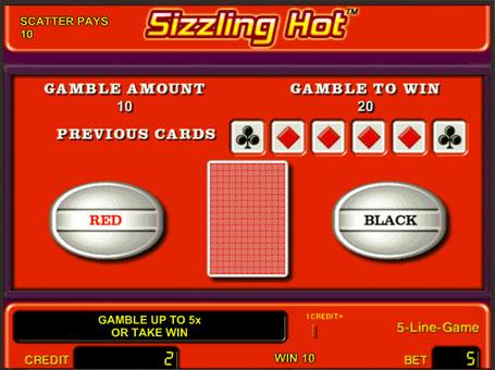 Ризик гра на слоті Sizzling Hot