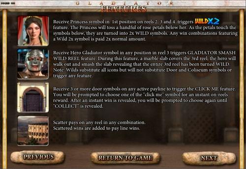 Опис бонусів в слоті Gladiator