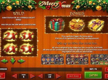 Бонусна гра і дикі знаки в слоті Merry Xmas