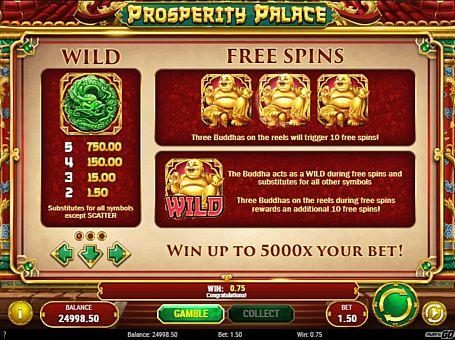 Wild и фріспіни в слоті Prosperity Palace