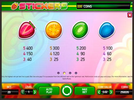 Выплаты в игровом автомате Stickers