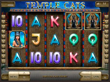 Символи на барабанах ігрового автомата Temple Cats