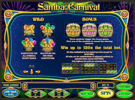 Правила бонусів і диких символів автомата Samba Carnival