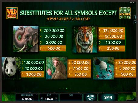 Виплати і символи ігрового автомата Wild Orient